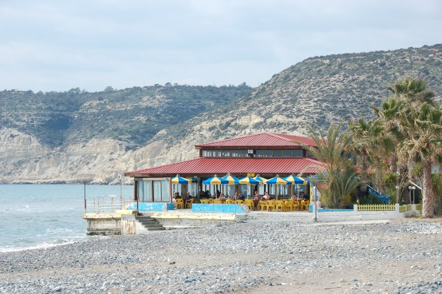 A cafe on Curium Beach in Cyprus